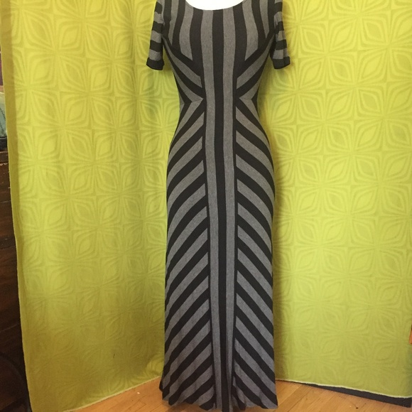 Eci Dresses New York Charcoal Black Striped Maxi Dress S Poshmark